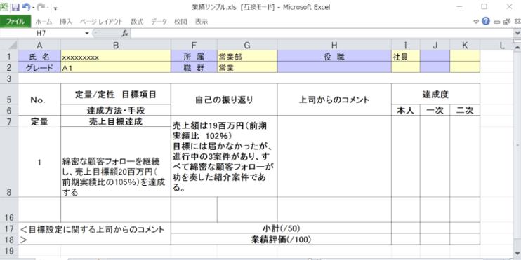 人事評価表の書き方のポイントと記入例1